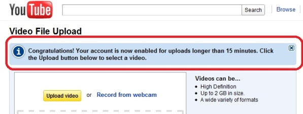 YouTube videos longer than 15min Upload Videos Longer Than 15 Minutes: YouTube!