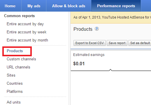 Adsense Products Earnings Not Shown For Your Hosted AdSense for Content?