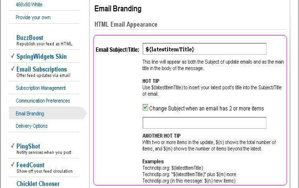 feedburner email title Feedburner   Tips to add latest posts title as Subject of email