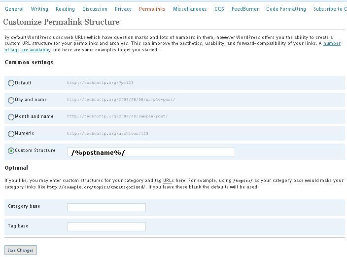 permalinks-wordpress-setting