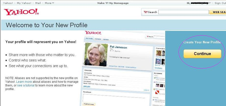 yahoo profile update Create your New Yahoo! profile